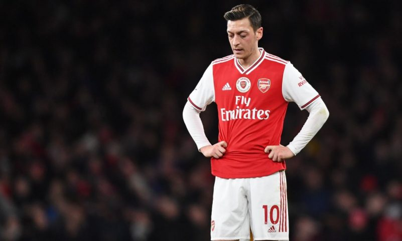Arsenal's Mesut Ozil posted to his millions of social media fans about the persecution of Uighurs in China. Photograph: Facundo Arrizabalaga/EPA