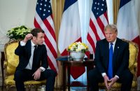 President Emmanuel Macron of France with President Trump in London on Tuesday.Credit...Al Drago for The New York Times