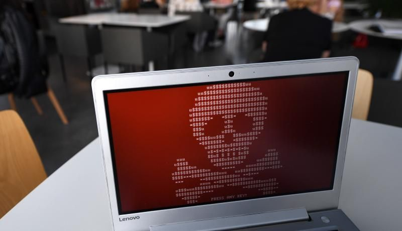 A computer hacked by a virus known as Petya. The Petya ransomware cyberattack hit computers of Russian and Ukrainian companies on 27 June 2017. Photo: Getty Images.