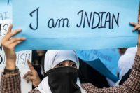 A woman demonstrates against the Indian government's citizenship amendment bill in New Delhi on Dec. 14. (Jewel Samad/Afp Via Getty Images)
