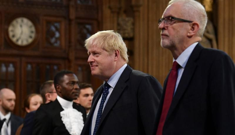 Boris Johnson and Jeremy Corbyn at the state opening of Parliament in October. Photo: Getty Images.