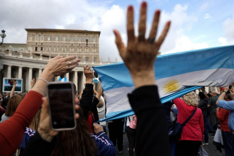 Pilgrims with Argentina's flag during an appearance by Pope Francis in St. Peter's Square in November. Credit Gregorio Borgia/Associated Press