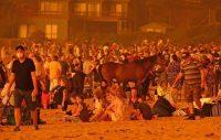 Les habitants de Malua Bay (Australie), acculés sur la plage par les flammes. Photo Alex Coppel