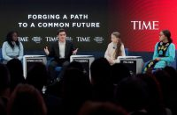 From left, the young activists Natasha Mwansa, Salvador Gómez-Colón, Greta Thunberg and Autumn Peltier, at the World Economic Forum in Davos, Switzerland, on Tuesday.