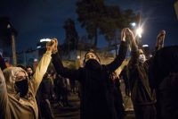 Demonstrators in front of Tehran's Amir Kabir University on Saturday.Credit...Agence France-Presse — Getty Images