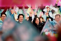 President Tsai Ing-wen of Taiwan and her running mate William Lai Ching-Te, second from left, at a rally in Taoyuan on Wednesday.Credit...Tyrone Siu/Reuters
