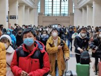 Face masks were ubiquitous at the Hankou railway station in Wuhan, China, which is at the center of a coronavirus outbreak that has killed at least 17 people.Credit...Xiaolu Chu/Getty Images