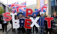 'Brexit is a tragedy we have collectively allowed to unfold.' A protest outside the EU leaders' summit in Brussels, October 2019. Photograph: Yves Herman/Reuters