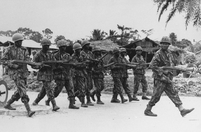 Nigerian federal troops during an operation against Biafran forces near the town of Ore, Nigeria, in 1967. Credit Associated Press