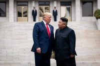 President Trump and Kim Jong-un, the North Korean leader, meeting on the North Korean side of the Demilitarized Zone in June.Credit...Erin Schaff/The New York Time