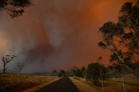 Saeed Khan/AFP via Getty Images Ember and thick smoke from bushfires, Braemar Bay, New South Wales, Australia, January 4, 2020