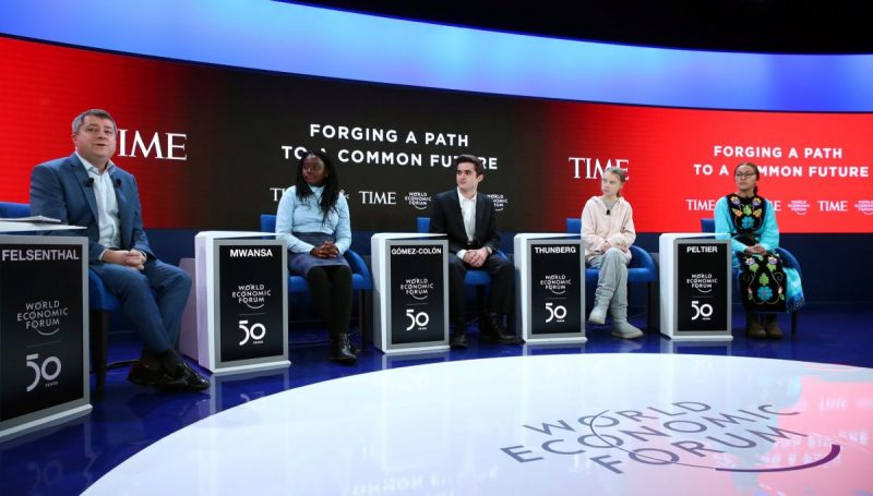 A panel of teenage activists, including Greta Thunberg, second from right, at the World Economic Forum on Tuesday. Credit Denis Balibouse/Reuters
