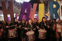 Women protest in Istanbul on March 8, 2017. (Emrah Gurel/AP)