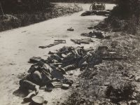 Dead British soldiers lying on a roadside in northern France during World War I.Credit...Daily Herald Archive/SSPL, via Getty Images