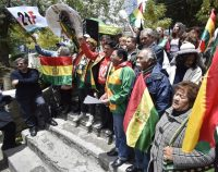 Members of the 21-F movement celebrate Bolivia's supreme electoral court's decision last week to disqualify former president Evo Morales from running for Senate, in La Paz, Bolivia, on Friday. (EPA-EFE/Shutterstock)