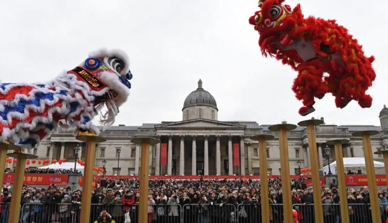 Lunar new year celebrations in Trafalgar Square on 26 January. Photo: Getty Images.