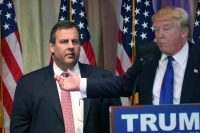John Moore/Getty Images New Jersey Governor Chris Christie accompanying then Republican frontrunner Donald Trump at a Mar-a-Lago press conference on Super Tuesday, a few days after Christie had abandoned his presidential campaign and endorsed Trump, Palm Beach, Florida, March 1, 2016