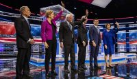 2020 Democratic presidential candidates at the debate in Las Vegas on 19 February. Photo: Getty Images.