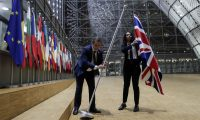 The union jack is removed from the European Council in Brussels. Photograph: Olivier Hoslet/Pool/EPA