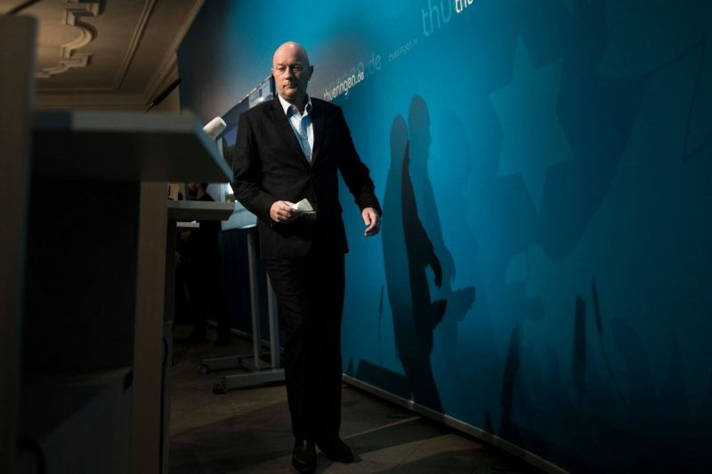 Thomas Kemmerich, newly elected governor of Thuringia, arriving for a press conference on Thursday. Credit Getty Images