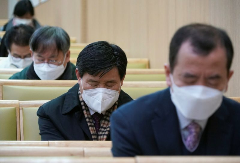 A Christian church service in Seoul on Sunday. The number of confirmed coronavirus cases in South Korea jumped in recent days. Credit Kim Hong-Ji/Reuters