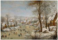 'Paisaje nevado con patinadores y trampa para pájaros', de Pieter Brueghel el joven. Museo Nacional del Prado
