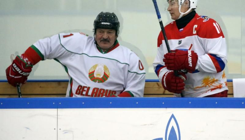 Putin and Lukashenka play ice hockey in Sochi after a day of talks in February. Photo: Getty Images.