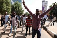 Sudanese protesters during a demonstration in Khartoum. Marwan Ali/EPA-EFE