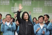Taiwanese President Tsai Ing-wen celebrates her victory with supporters in Taipei. (Chiang Ying-Ying/AP)