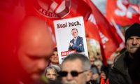 Demonstrators hold up a poster of Thuringia's former state premier, Bodo Ramelow, of the leftwing Die Linke party during an anti-fascist protest this month. Photograph: Jens Schlueter/AFP via Getty Images