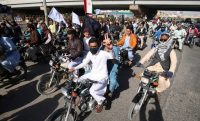 Pashtun Tahaffuz Movement supporters protest the arrest of leader Manzoor Pashteen in Karachi, Pakistan, on Jan. 28. (SHAHZAIB AKBER/EPA-EFE/REX)