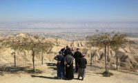 Jewish settlers at a viewpoint in the Judean desert overlooking the West Bank city of Jericho. Photograph: Oded Balilty/AP