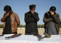 Taliban militants laid down their arms in Jalalabad, Afghanistan, this month to join the peace process.Credit...Ghulamullah Habibi/EPA, via Shutterstock