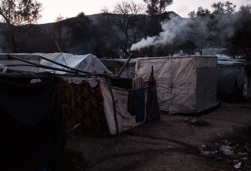 Nick Paleologos/SOOC An improvised stove pipe in the shanty town of Vial refugee camp, Chios, Greece, February 9, 2020