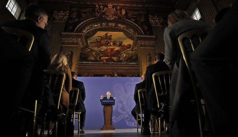 Boris Johnson speaks at the Old Naval College in Greenwich on 3 February. Photo: Getty Images.