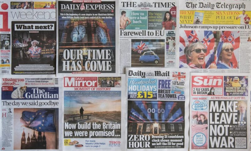 British national newspaper front pages on 1 February 2020, the morning after the UK exited from the European Union. Photograph: Leon Neal/Getty Images