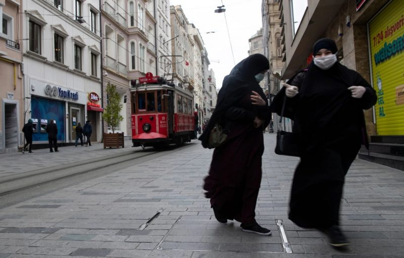 Istiklal Street in Istanbul, one of the most visited avenues in Turkey, is almost deserted Thursday over concerns about the spread of the coronavirus. (Tolga Bozoglu/EPA-EFE/REX/Shutterstock)