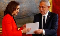 'While entering a coalition with a fundamentally different party is a challenge, it is at the same time an opportunity.' Alma Zadić is sworn in by Austrian president Alexander Van der Bellen on 7 January. Photograph: Leonhard Föger/Reuters
