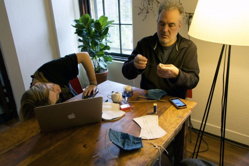 Lucy Jakub The author's sister and father sewing face masks, Northampton, Massachusetts, March 2020