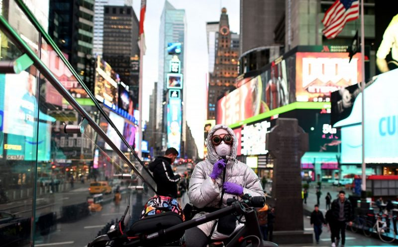 Johannes Eisele/AFP via Getty Images Times Square, Manhattan, March 17, 2020