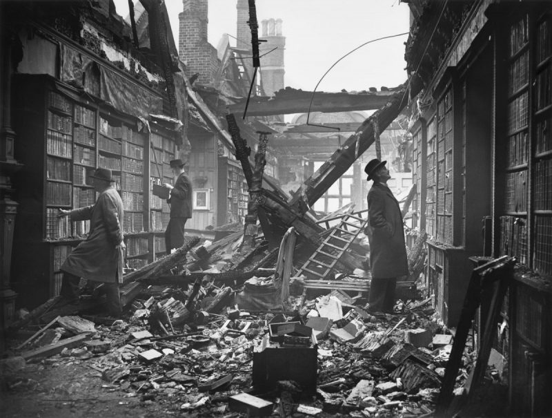 Central Press/Hulton Archive/Getty Images The library at Holland House in Kensington, damaged by a fire bomb in the London Blitz during World War II, London, October 23, 1940