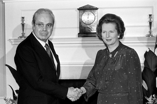 United Nations Secretary-General Javier Perez de Cuellar shakes hands with British Prime Minister Margaret Thatcher at 10 Downing Street, London, July 14, 1982 (Press Association photo via AP Images)