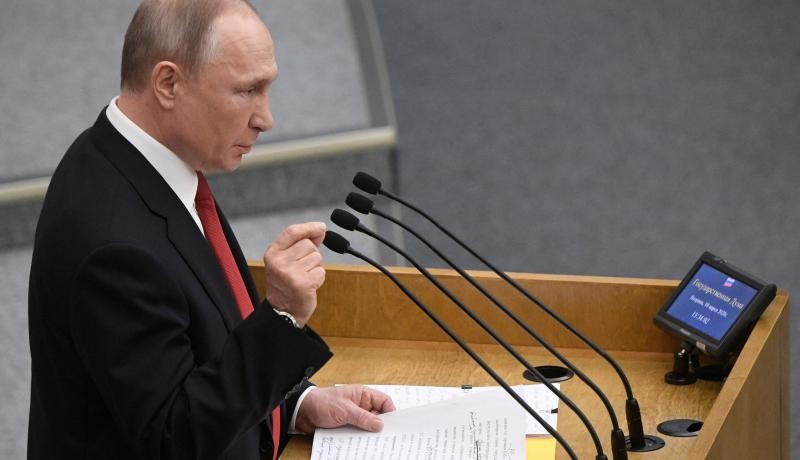 Russian President Vladimir Putin addresses lawmakers debating on the second reading of the constitutional reform bill during a session of the State Duma, Russia's lower house of parliament March 10, 2020. Photo by ALEXANDER NEMENOV/AFP via Getty Images.