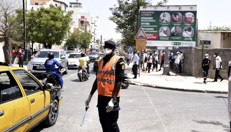 Dakar after the Interior Ministry announced compulsory wearing of masks in public and private services, shops and transport, under penalty of sanctions. Photo by SEYLLOU/AFP via Getty Images.