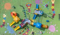 Vista aérea de un parque de juegos en la ciudad de México DF. Hector Vivas Getty Images