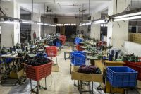 An empty garment factory during a government-imposed lockdown in Bangladesh. (Munir Uz Zaman/Afp Via Getty Images)