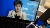 Kristalina Georgieva, managing director of the International Monetary Fund (IMF), speaks during a virtual news conference on April 15, 2020. Photo by Andrew Harrer/Bloomberg via Getty Images