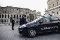 Police at a roadblock to enforce the coronavirus emergency lockdown in Rome on March 28. (Fabio Frustaci/EPA-EFE/REX/Shutterstock)
