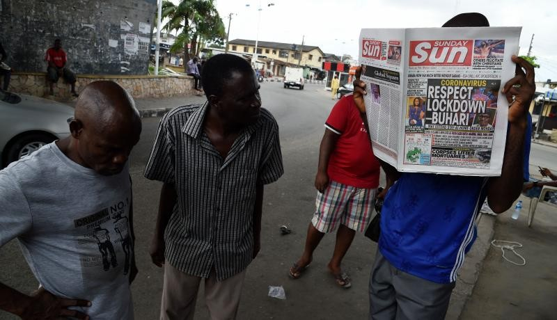News stand in Lagos, Nigeria on April 12, 2020. Photo by PIUS UTOMI EKPEI/AFP via Getty Images.
