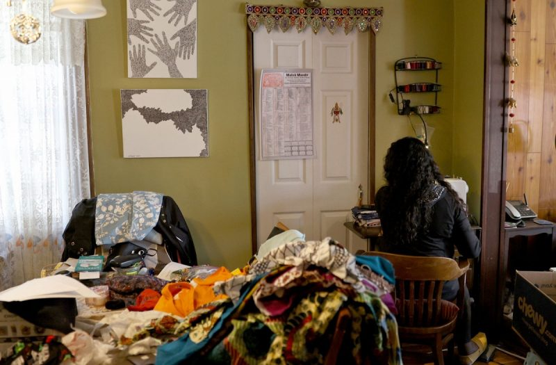 Elsa/Getty Images Kavita Torres making masks in her home in Maplewood, New Jersey, March 27, 2020; residents of South Orange and Maplewood townships have organized to make protective gear for healthcare workers